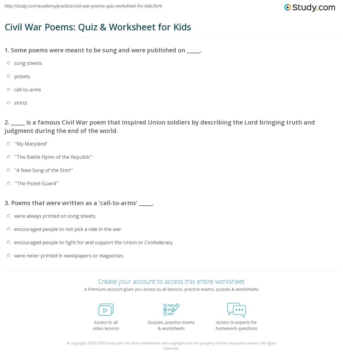 Civil War Poems Quiz Amp Worksheet For Kids