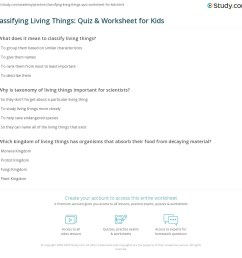 Classifying Living Things: Quiz \u0026 Worksheet for Kids   Study.com [ 1121 x 1140 Pixel ]