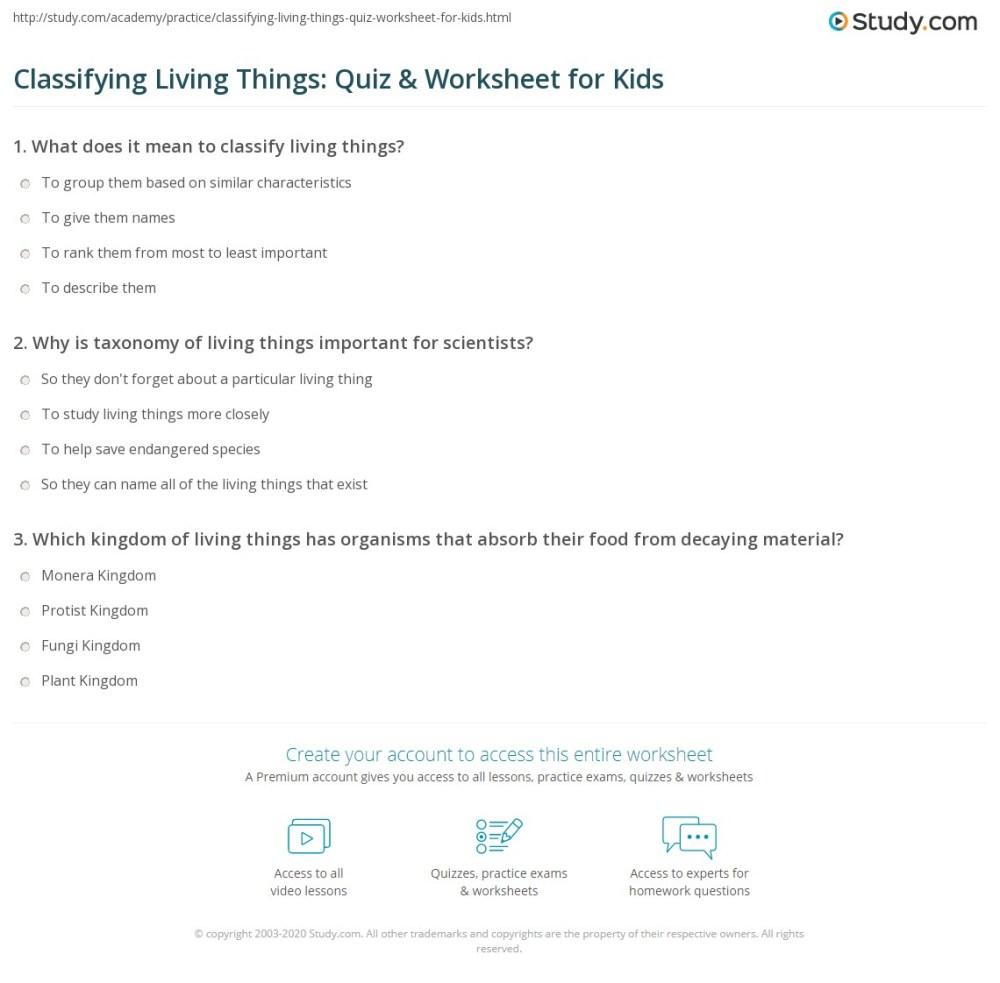 medium resolution of Classifying Living Things: Quiz \u0026 Worksheet for Kids   Study.com