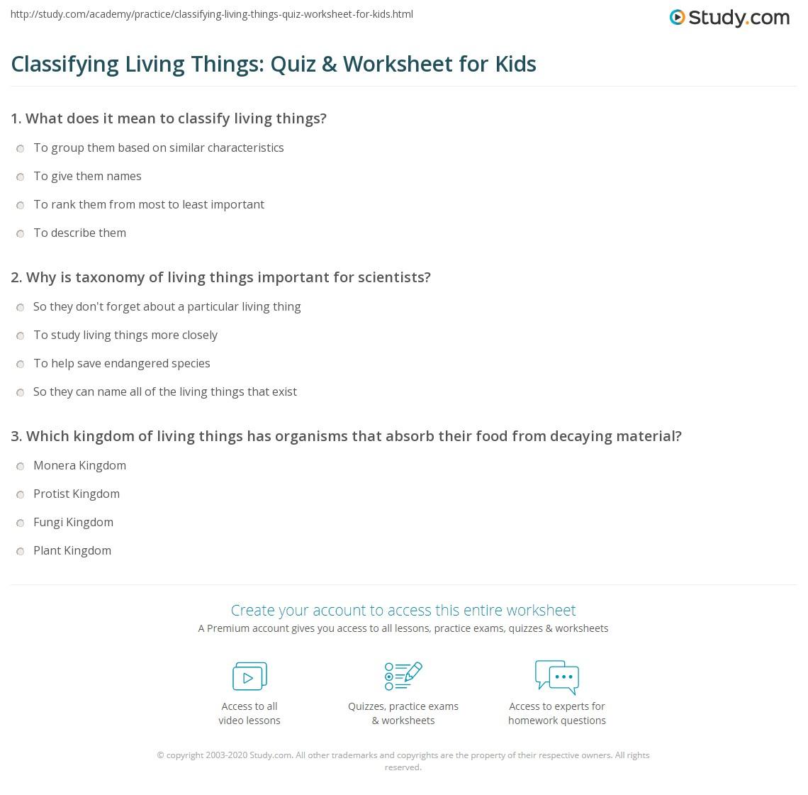 hight resolution of Classifying Living Things: Quiz \u0026 Worksheet for Kids   Study.com