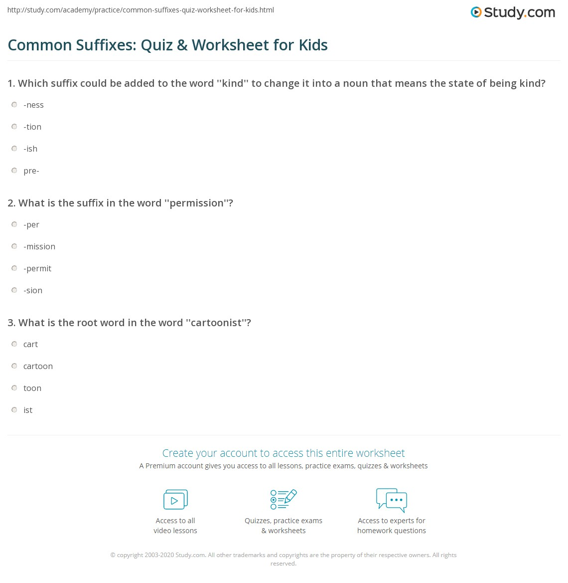 Common Suffixes Quiz Amp Worksheet For Kids