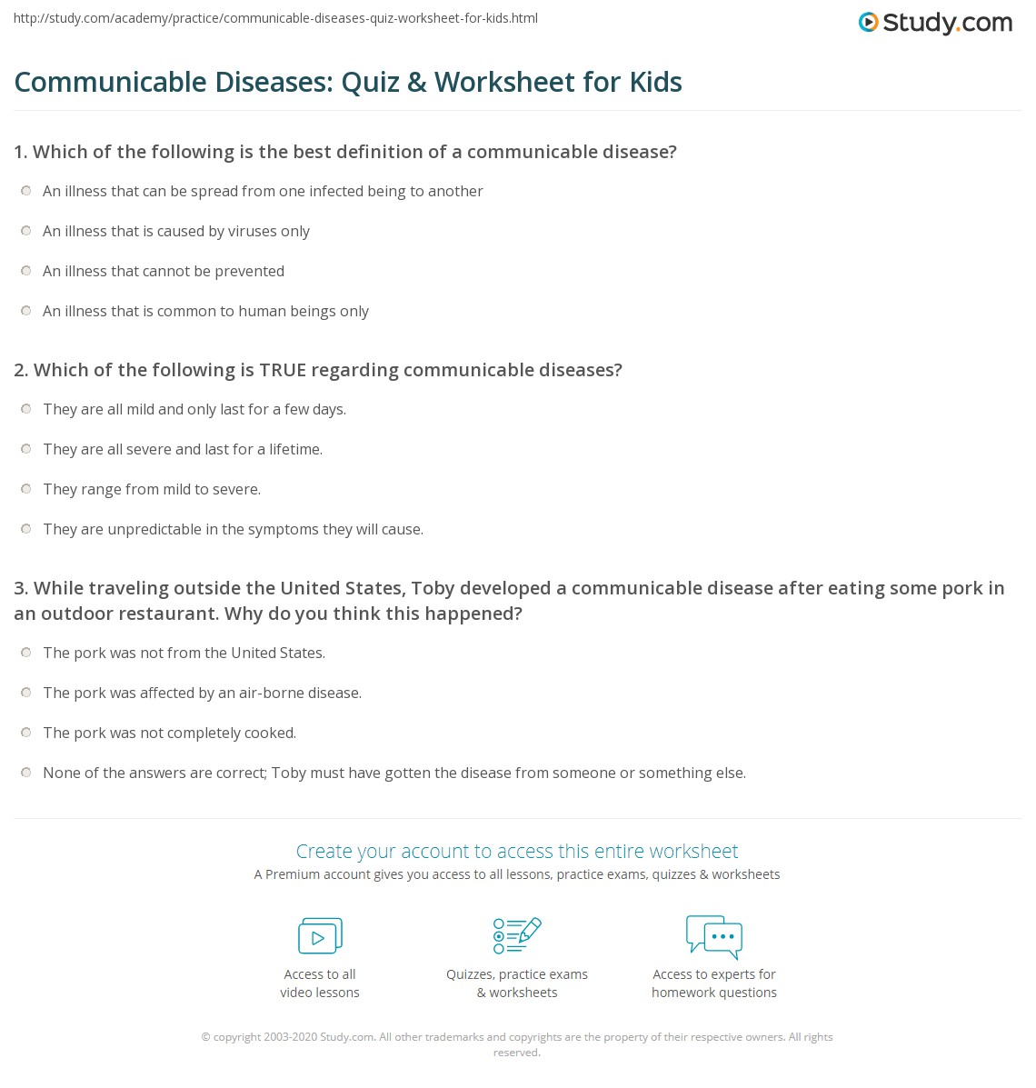Communicable Diseases Quiz Amp Worksheet For Kids