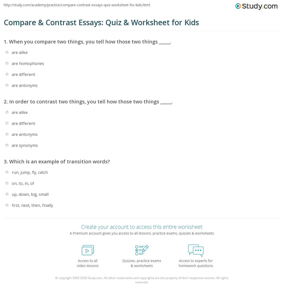 Compare Amp Contrast Essays Quiz Amp Worksheet For Kids