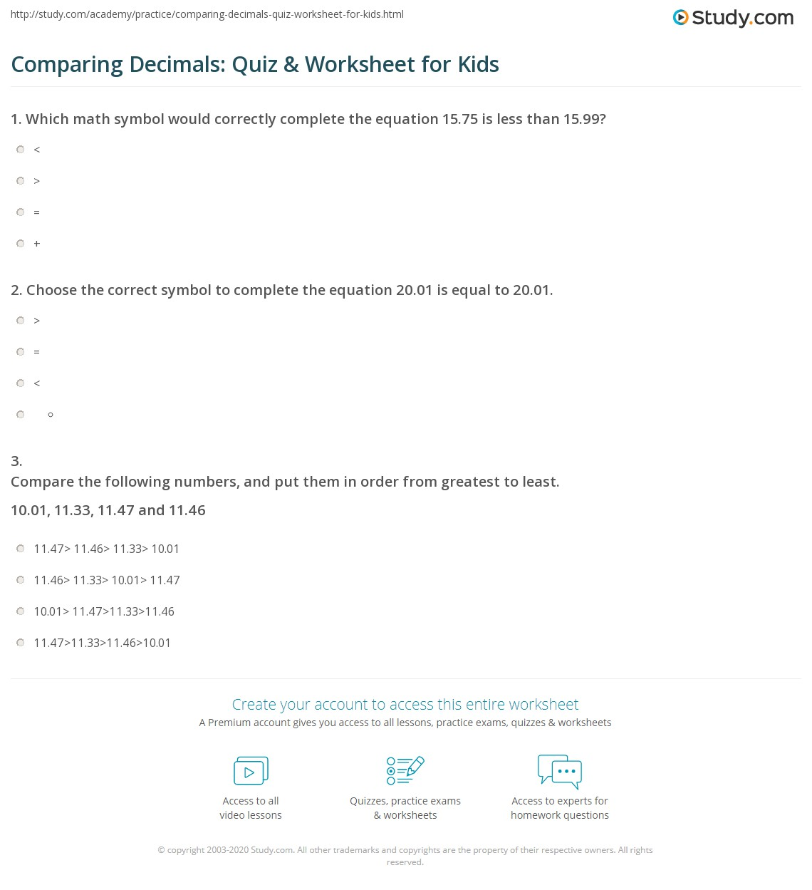 Comparing Decimals Quiz Amp Worksheet For Kids