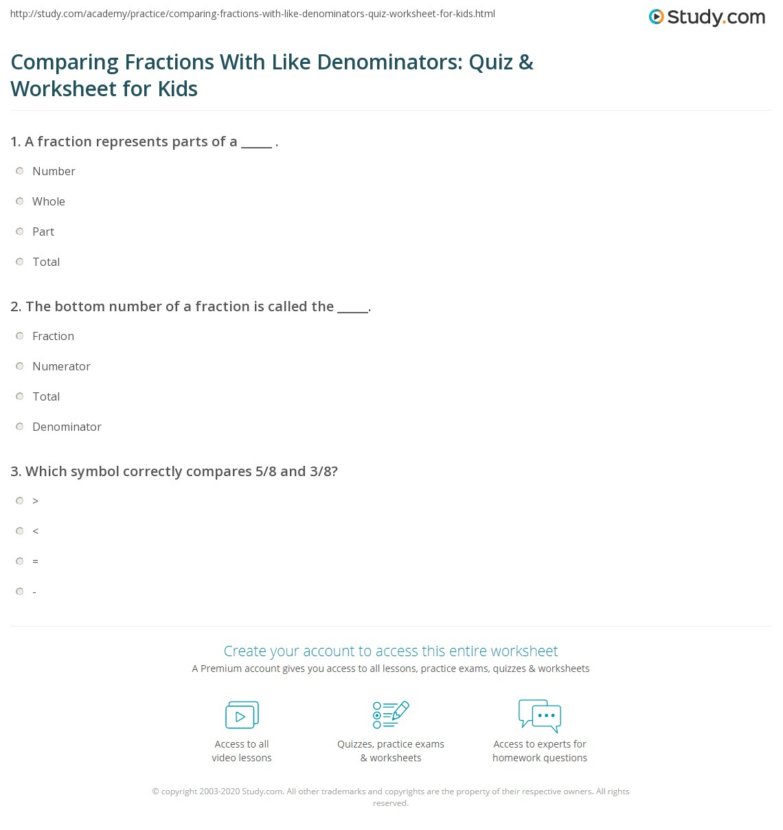 Comparing Fractions With Like Denominators Quiz Amp Worksheet For Kids