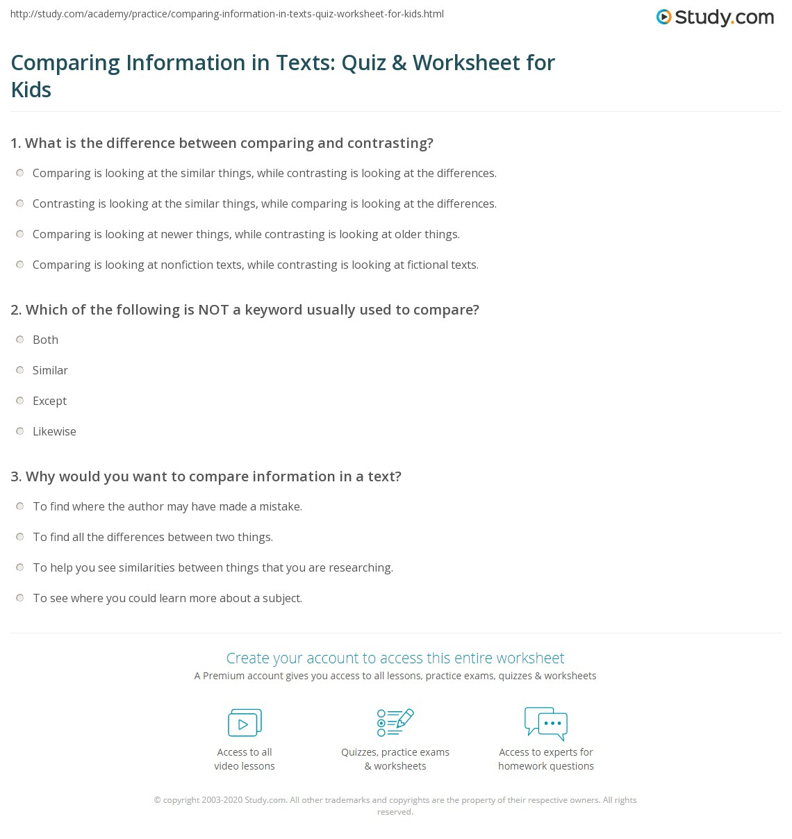 Comparing Information In Texts Quiz Amp Worksheet For Kids
