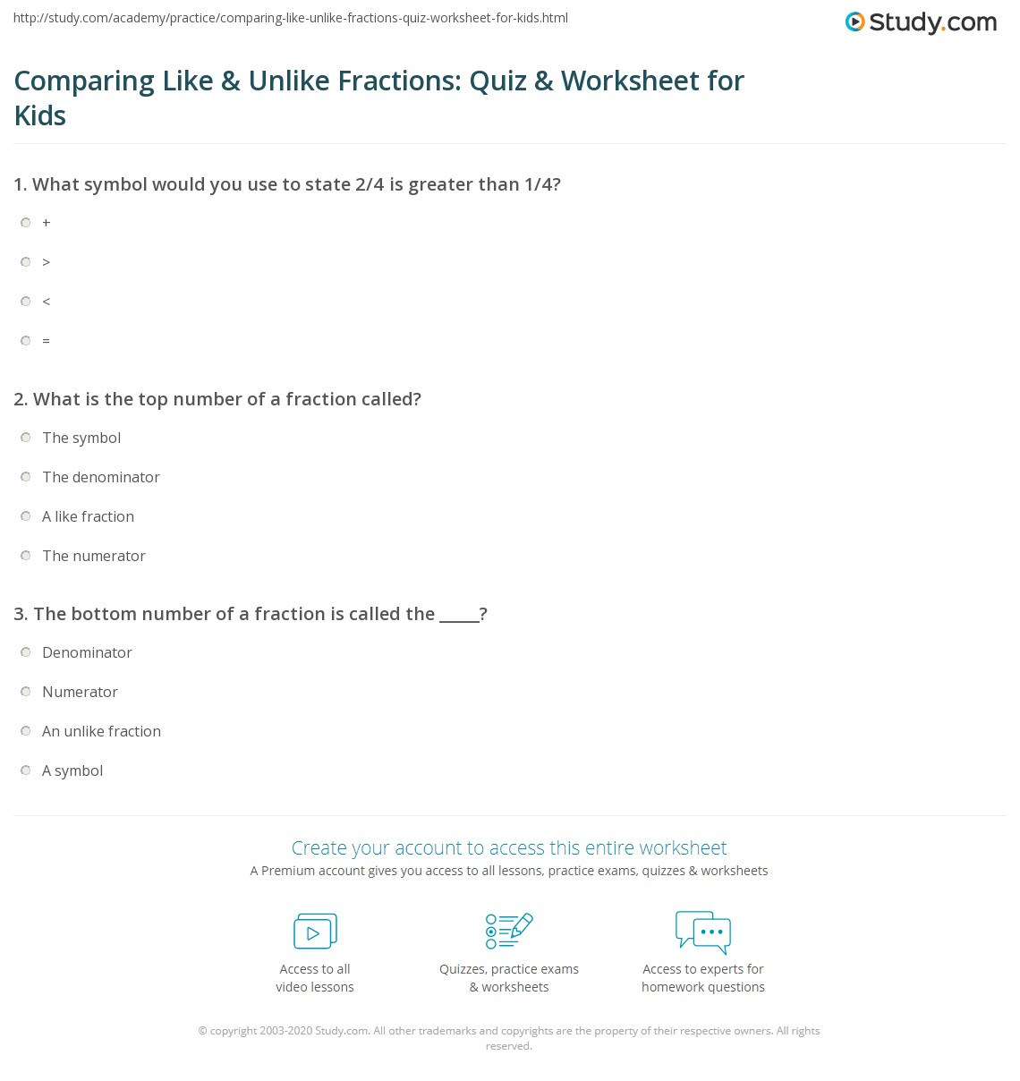 Comparing Like Amp Unlike Fractions Quiz Amp Worksheet For