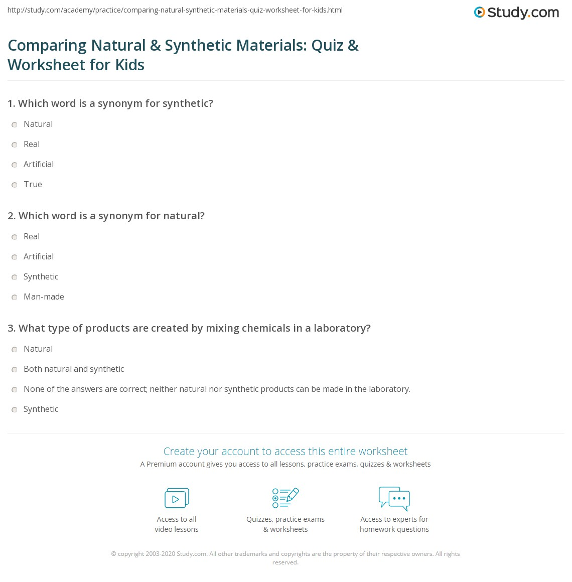 Comparing Natural Amp Synthetic Materials Quiz Amp Worksheet