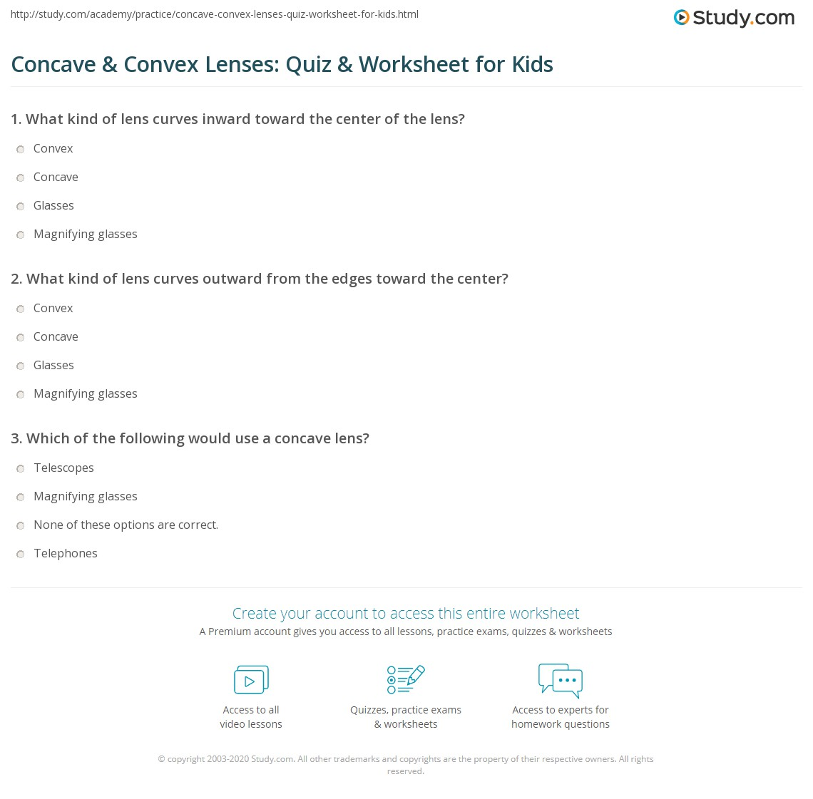 Concave Amp Convex Lenses Quiz Amp Worksheet For Kids