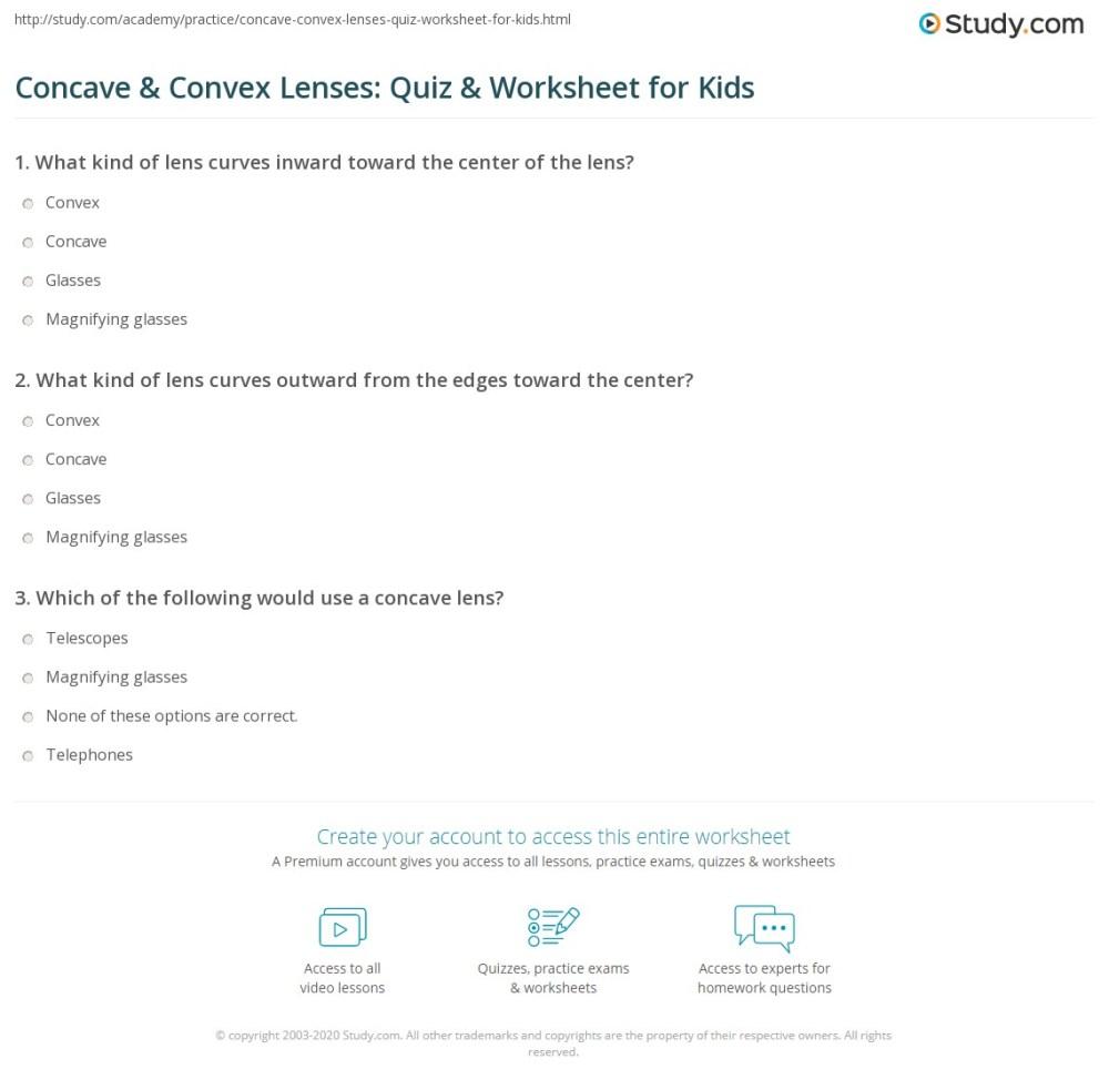 medium resolution of Concave \u0026 Convex Lenses: Quiz \u0026 Worksheet for Kids   Study.com