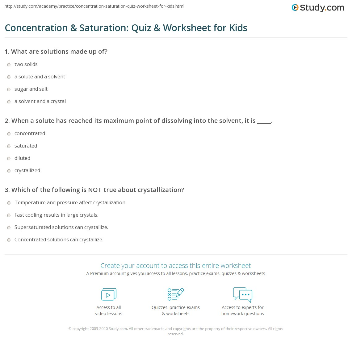 Concentration Amp Saturation Quiz Amp Worksheet For Kids