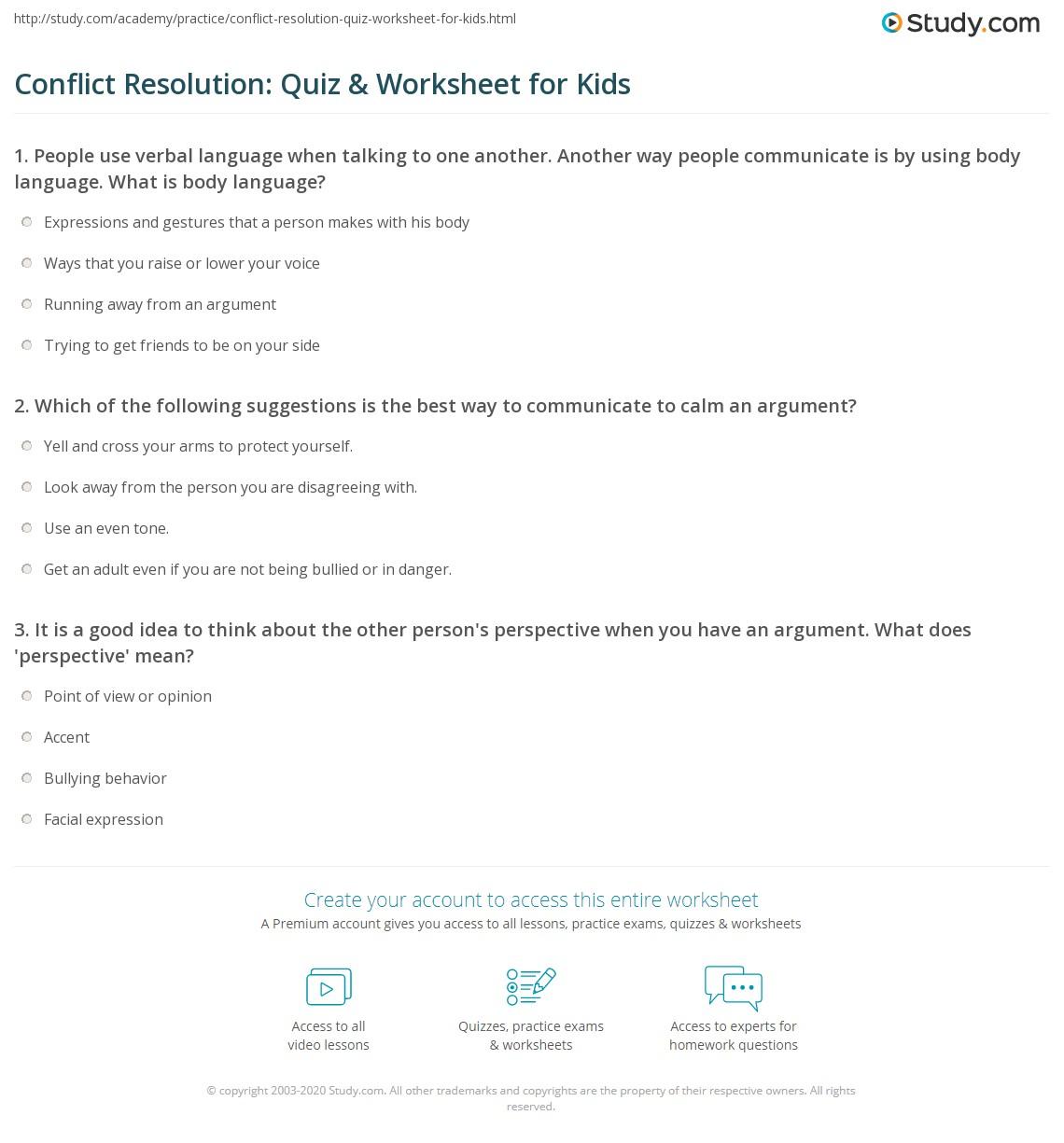 Conflict Resolution Quiz Amp Worksheet For Kids