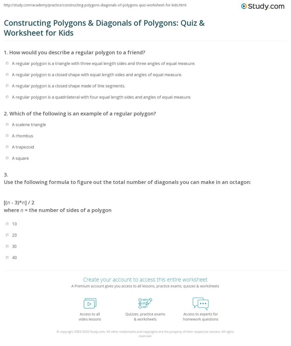 medium resolution of Constructing Polygons \u0026 Diagonals of Polygons: Quiz \u0026 Worksheet for Kids    Study.com