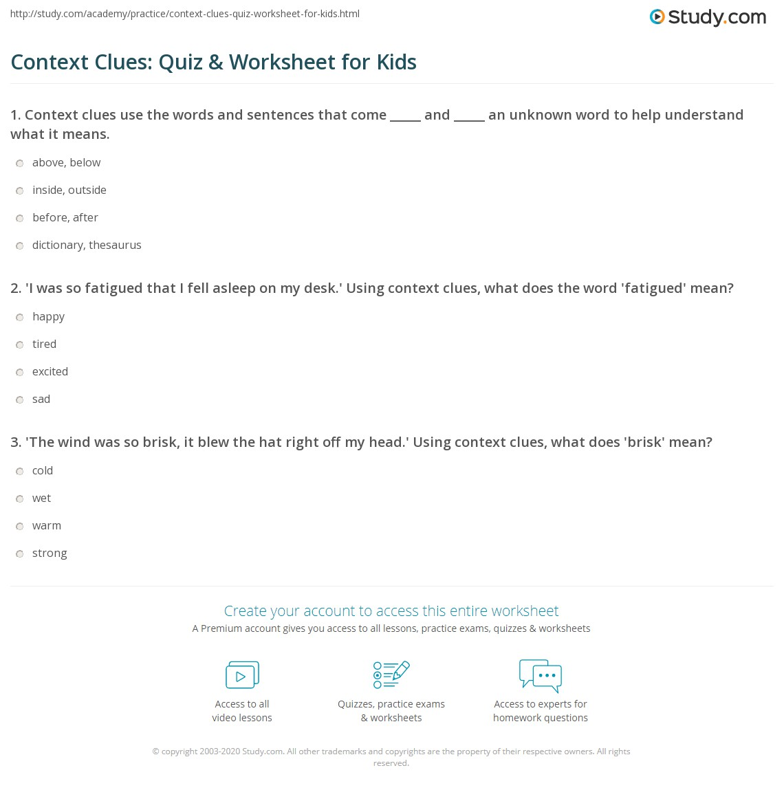 Context Clues Quiz Amp Worksheet For Kids