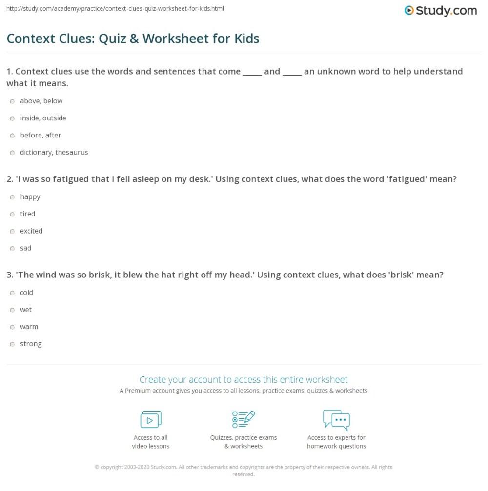 medium resolution of Context Clues: Quiz \u0026 Worksheet for Kids   Study.com