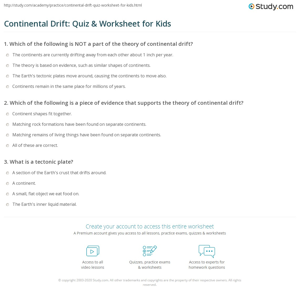 Continental Drift Quiz Amp Worksheet For Kids