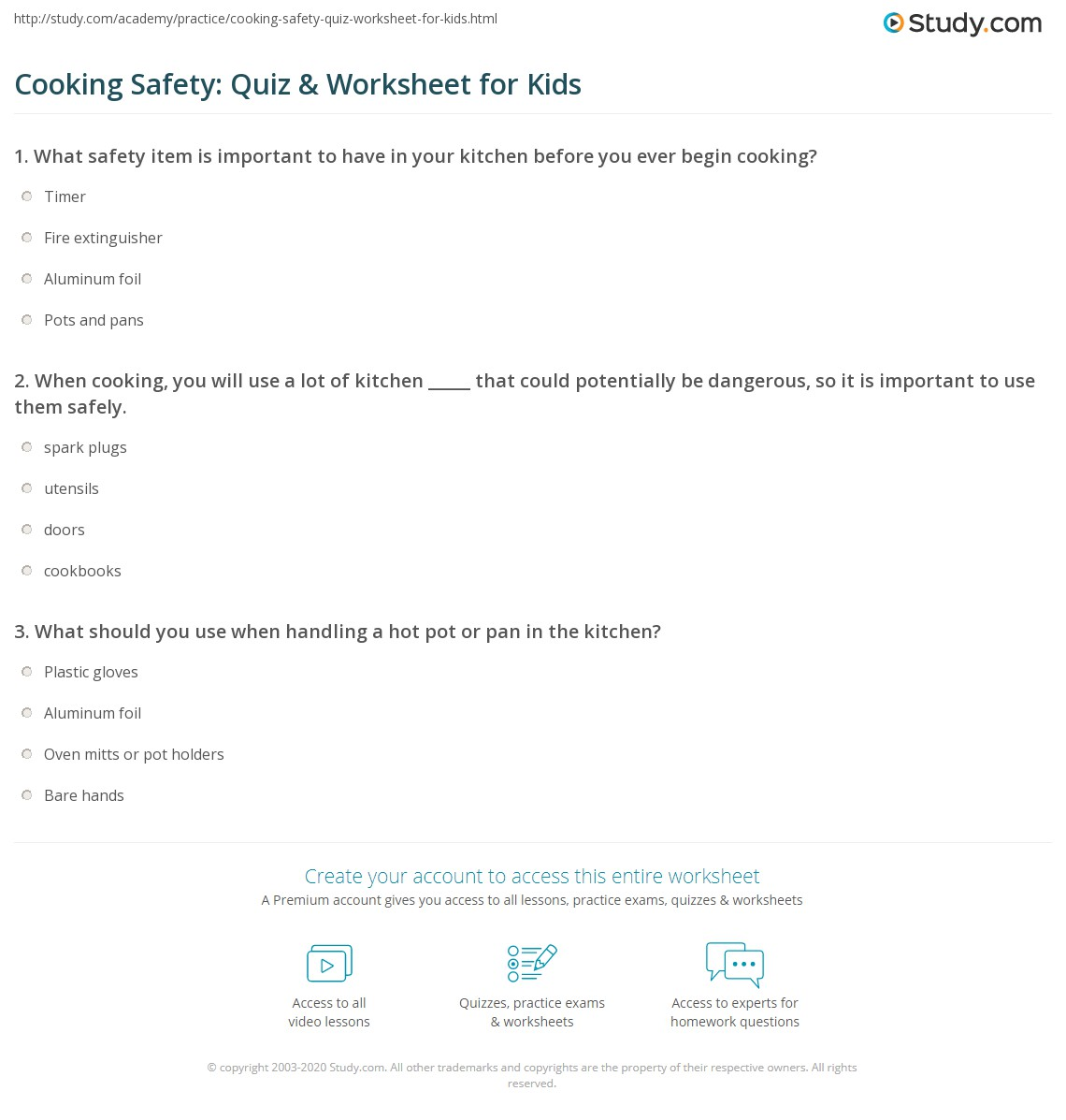 Cooking Safety Quiz Amp Worksheet For Kids
