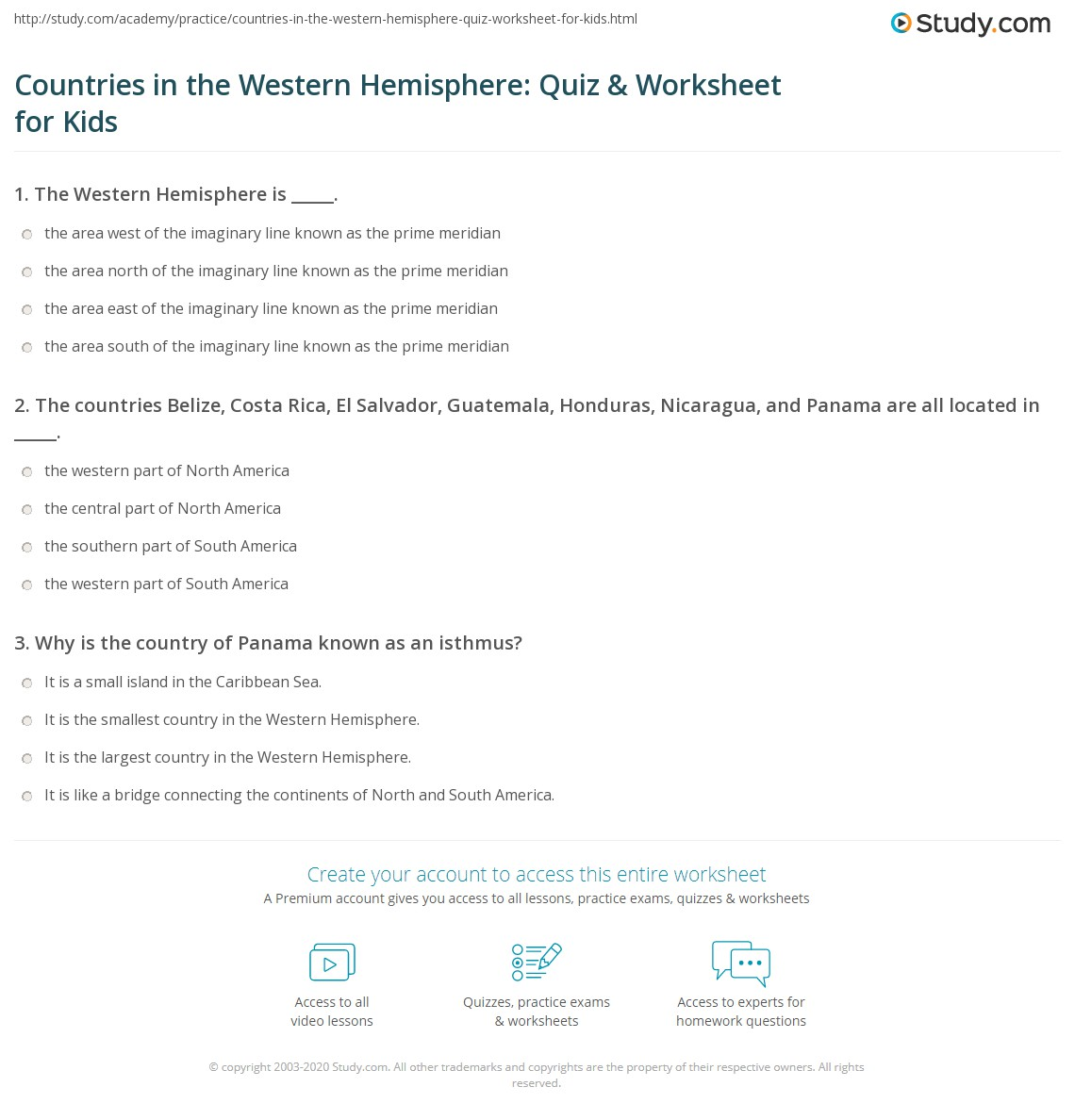 Countries In The Western Hemisphere Quiz Amp Worksheet For