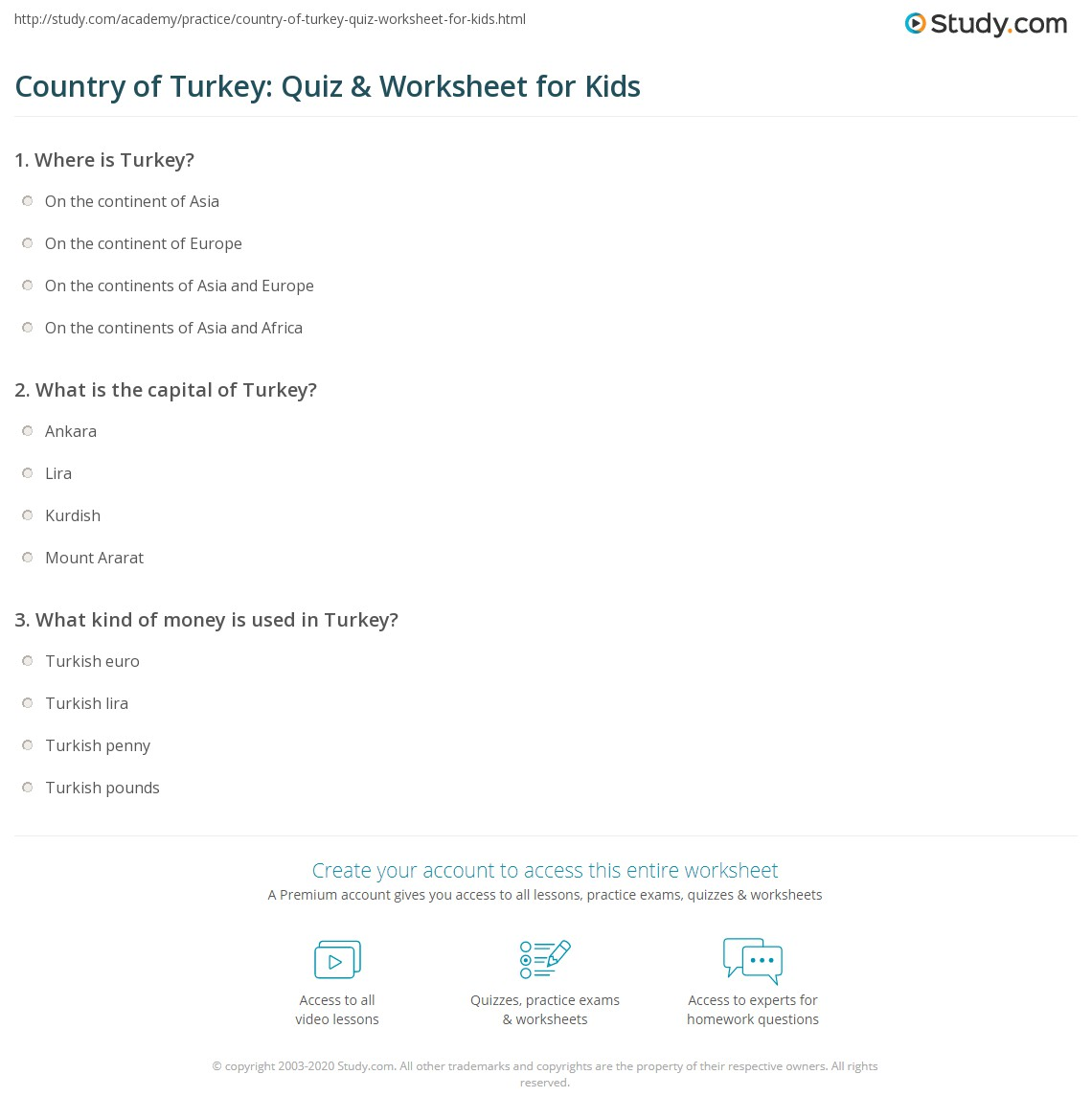Country Of Turkey Quiz Amp Worksheet For Kids