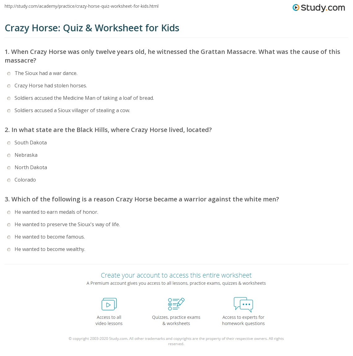 Crazy Horse Quiz Amp Worksheet For Kids