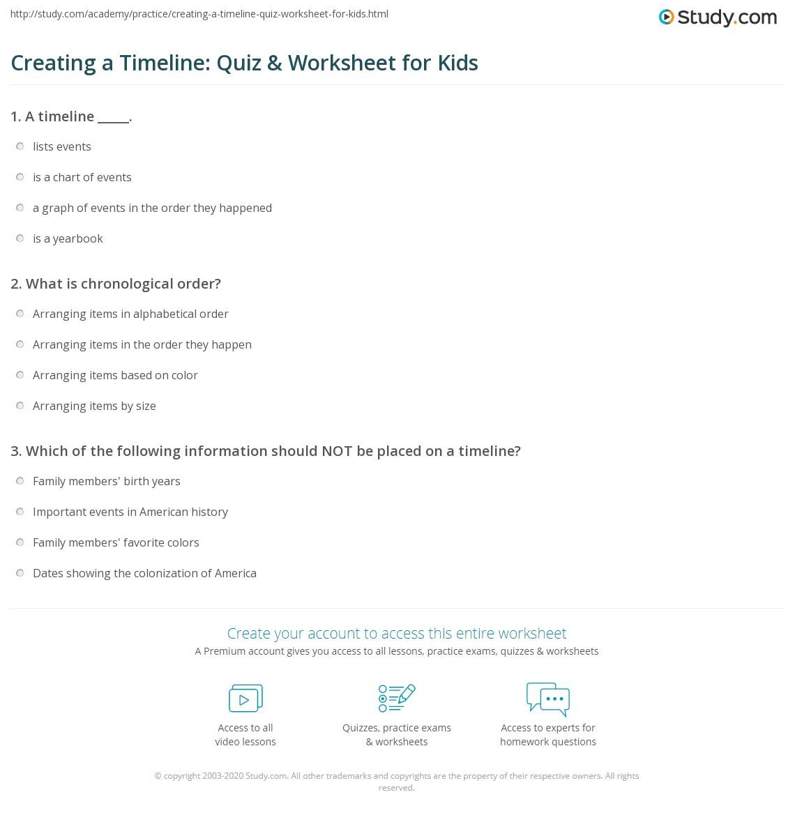 Creating A Timeline Quiz Amp Worksheet For Kids