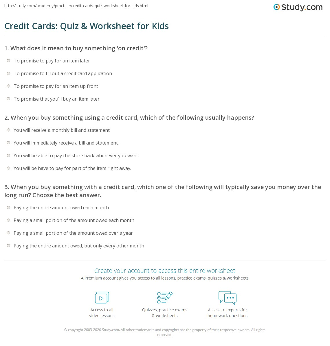 Credit Cards Quiz Amp Worksheet For Kids