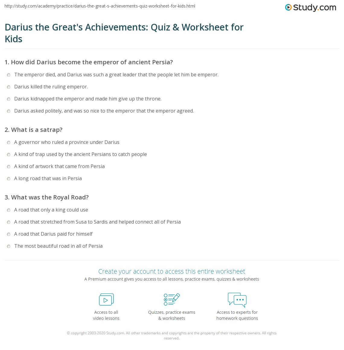 Darius The Great S Achievements Quiz Amp Worksheet For Kids