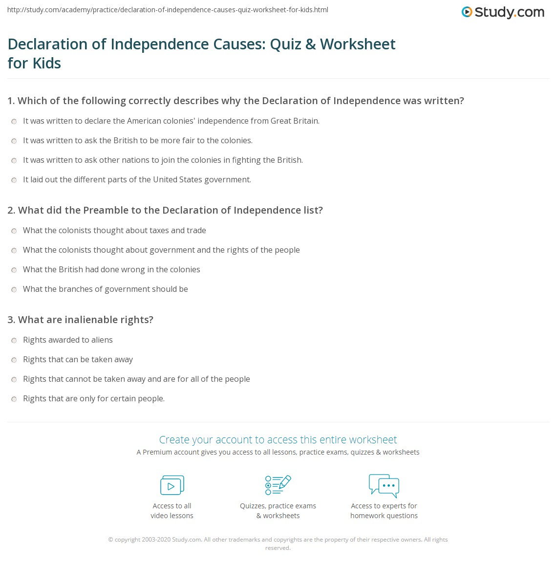 Declaration Of Independence Causes Quiz Amp Worksheet For