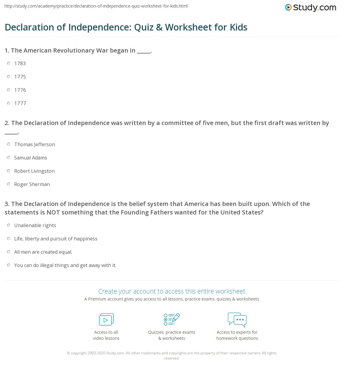 Declaration Of Independence Quiz Amp Worksheet For Kids