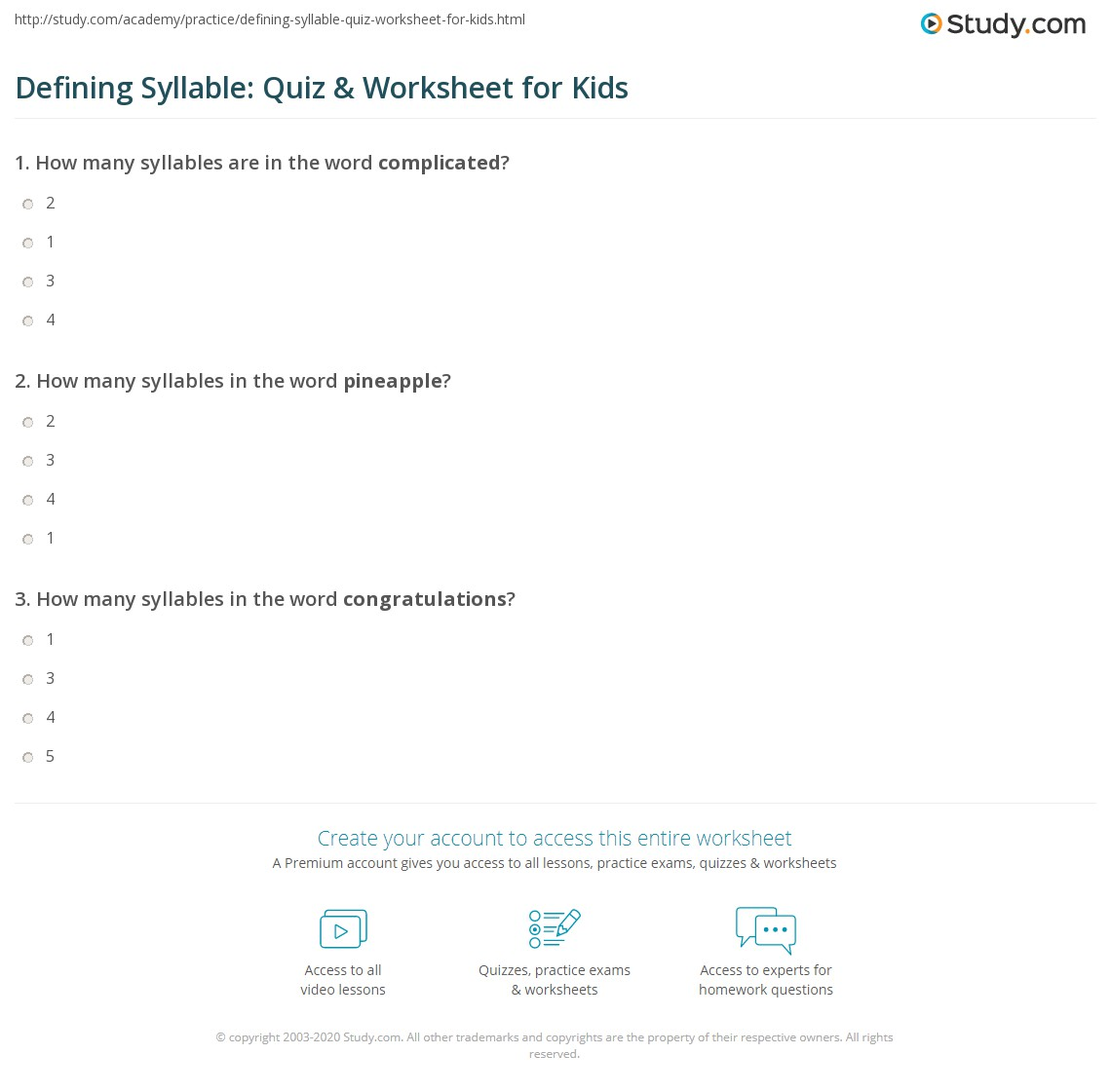 Defining Syllable Quiz Amp Worksheet For Kids