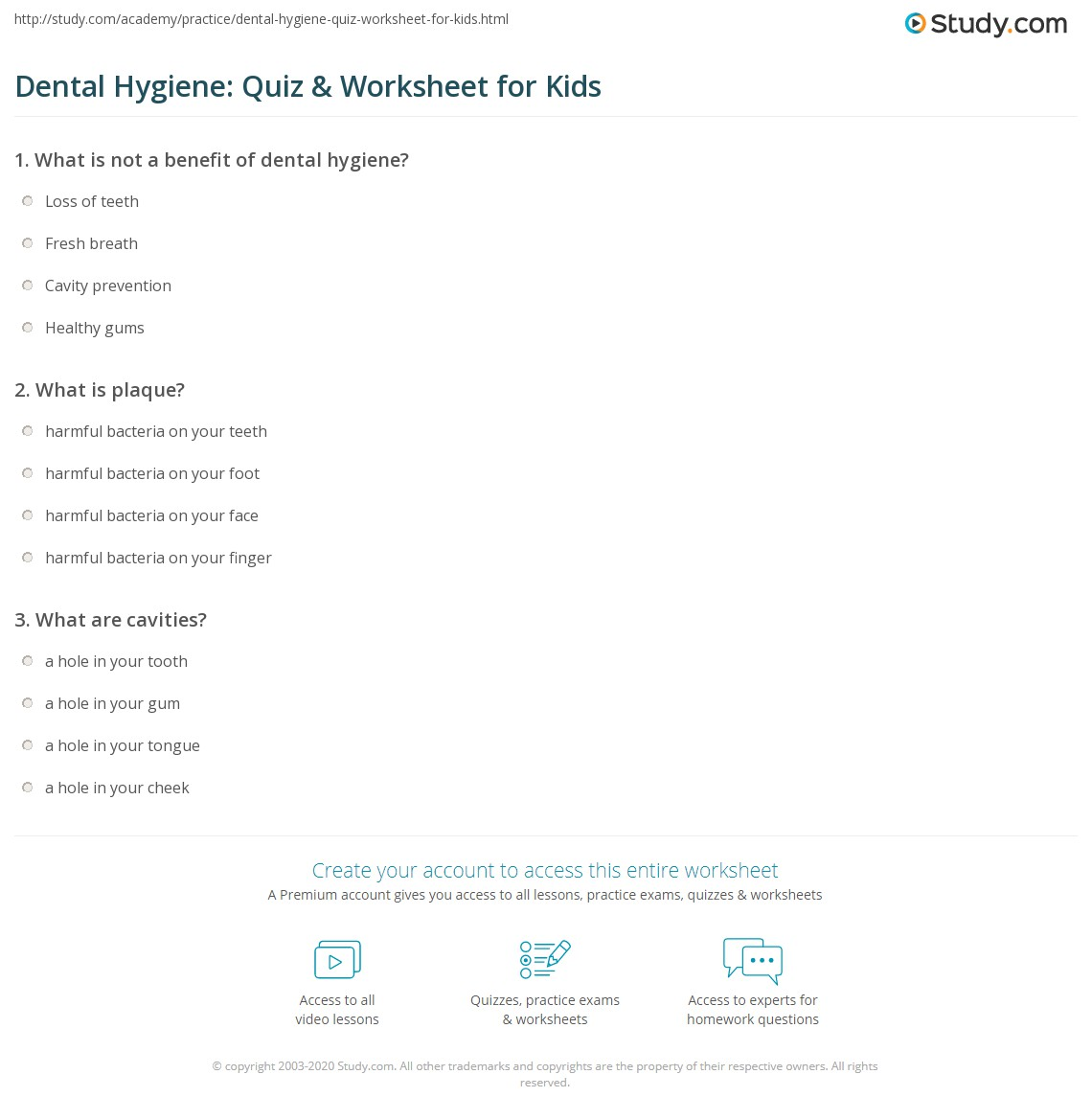 hight resolution of Dental Hygiene: Quiz \u0026 Worksheet for Kids   Study.com