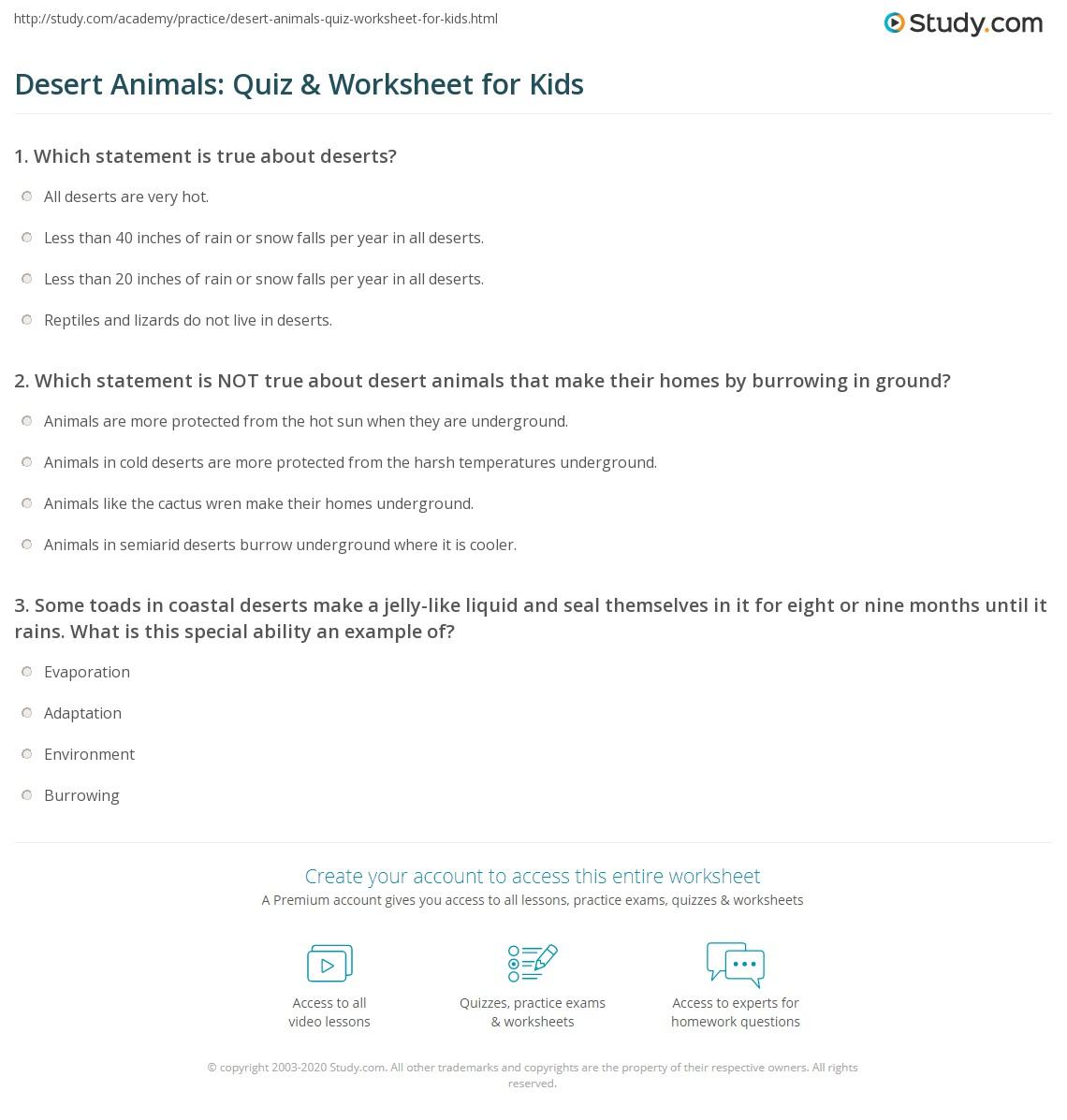 Desert Animals Quiz Amp Worksheet For Kids