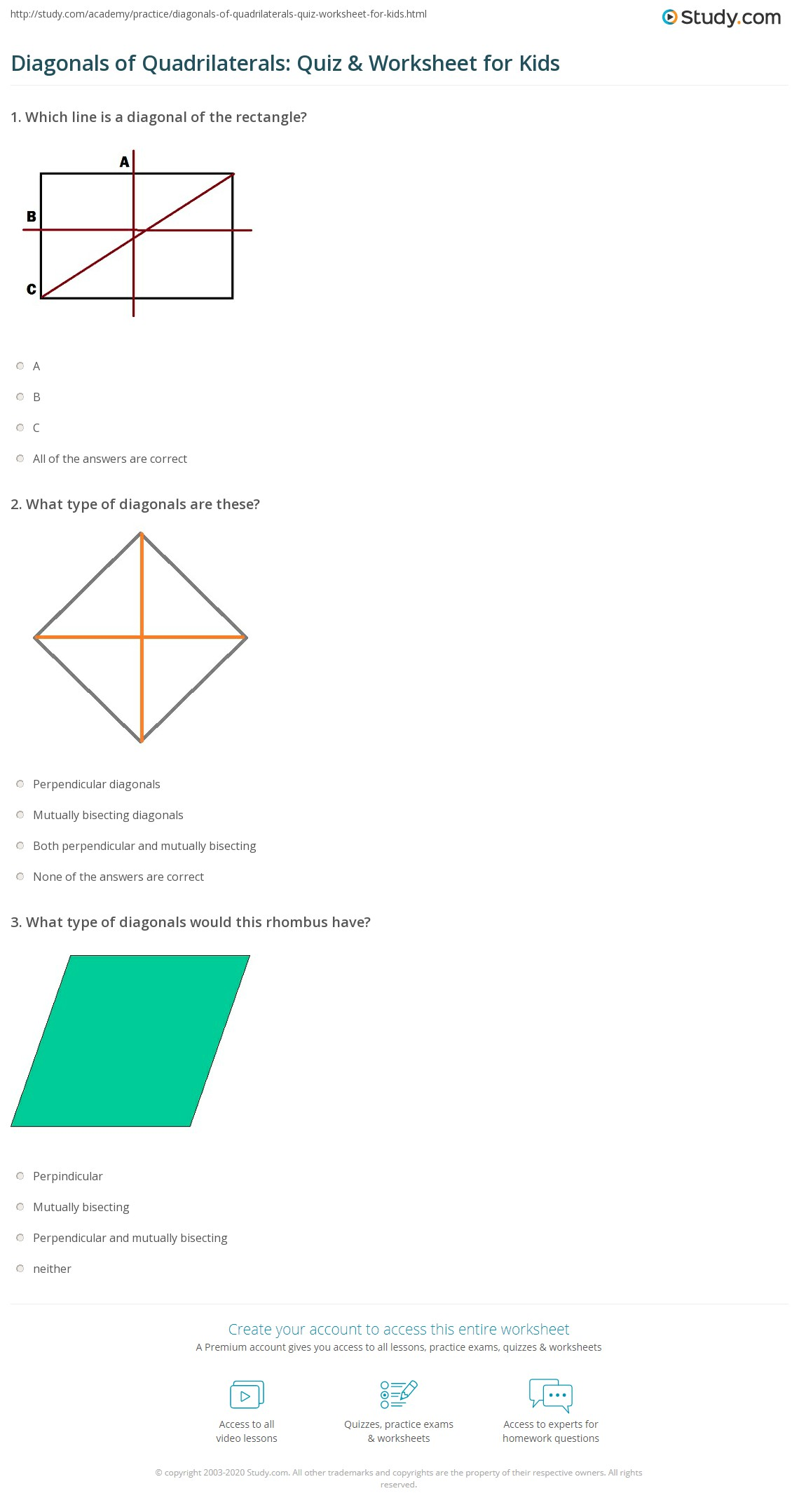 Diagonals Of Quadrilaterals Quiz Amp Worksheet For Kids