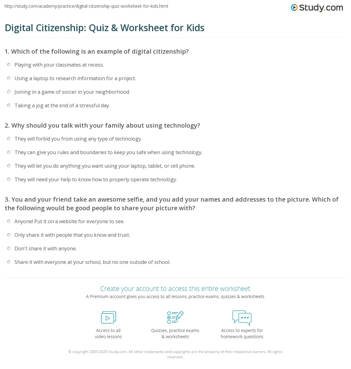 Digital Citizenship Quiz Amp Worksheet For Kids
