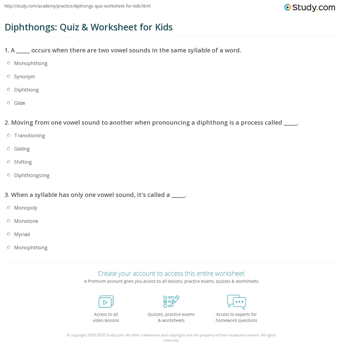 Diphthongs Quiz Amp Worksheet For Kids