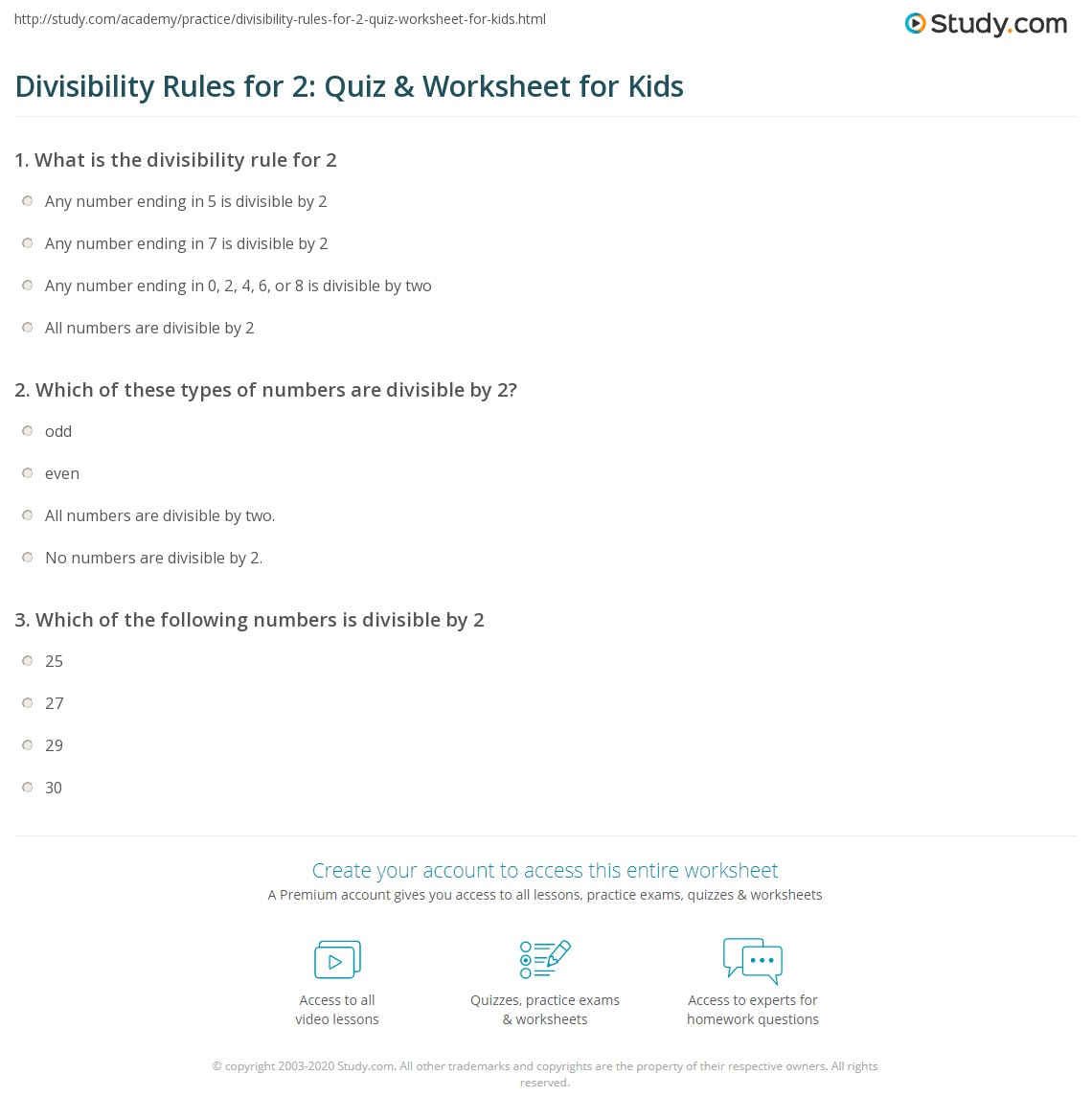 Divisibility Rules For 2 Quiz Amp Worksheet For Kids