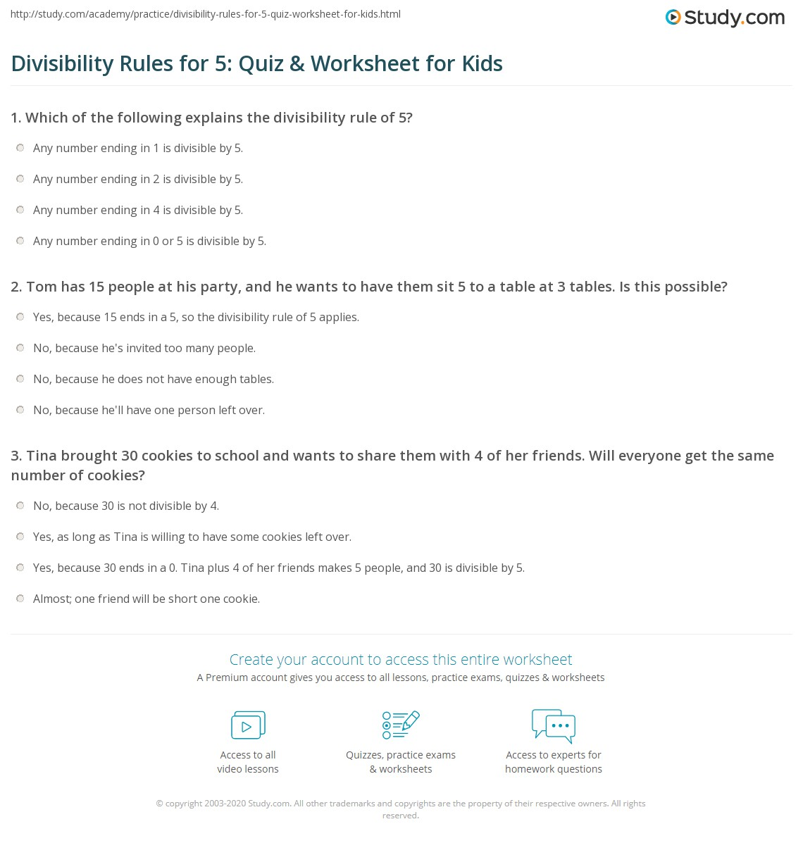 Divisibility Rules For 5 Quiz Amp Worksheet For Kids