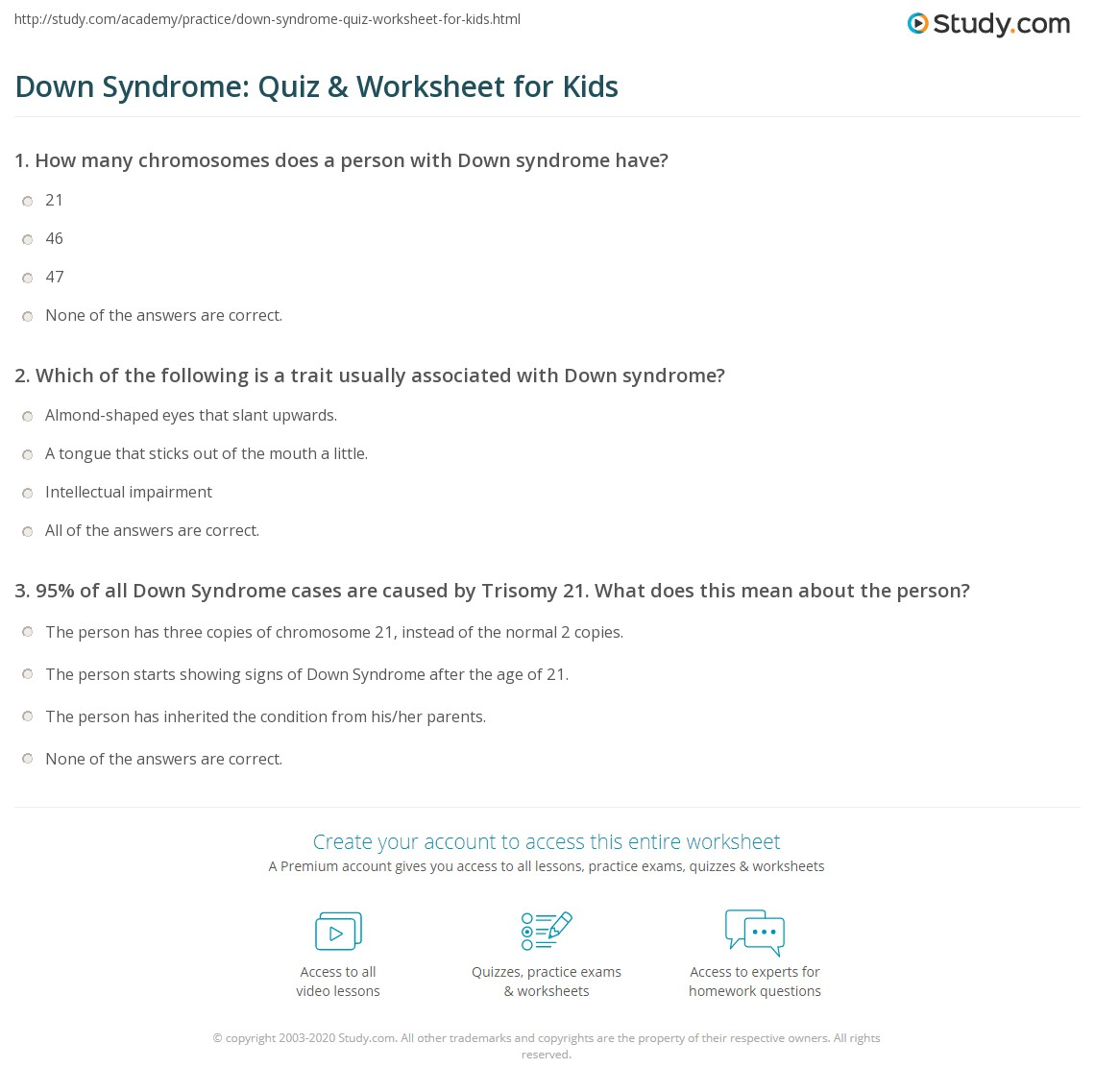 Down Syndrome Quiz Amp Worksheet For Kids