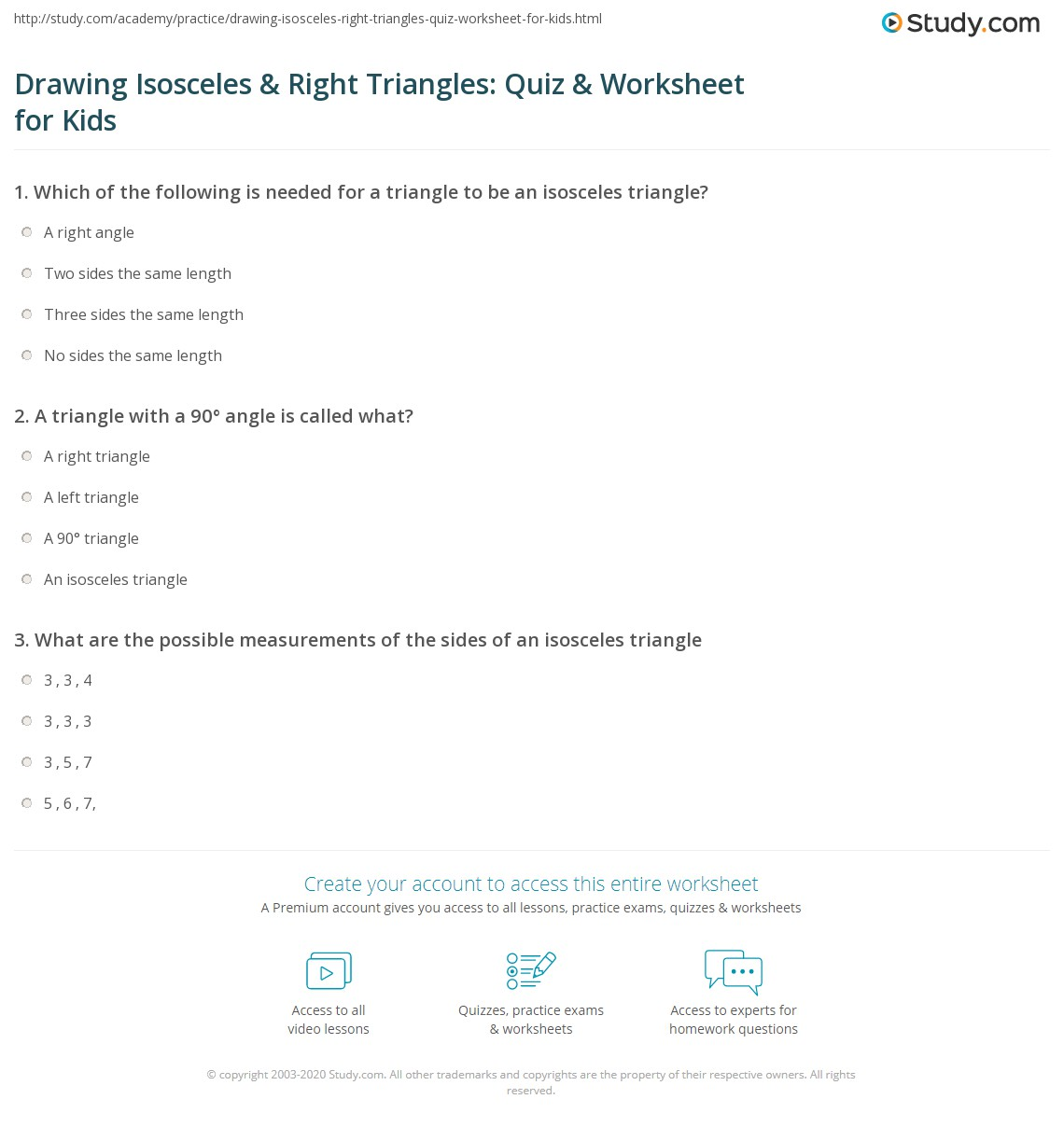 Drawing Isosceles Amp Right Triangles Quiz Amp Worksheet For