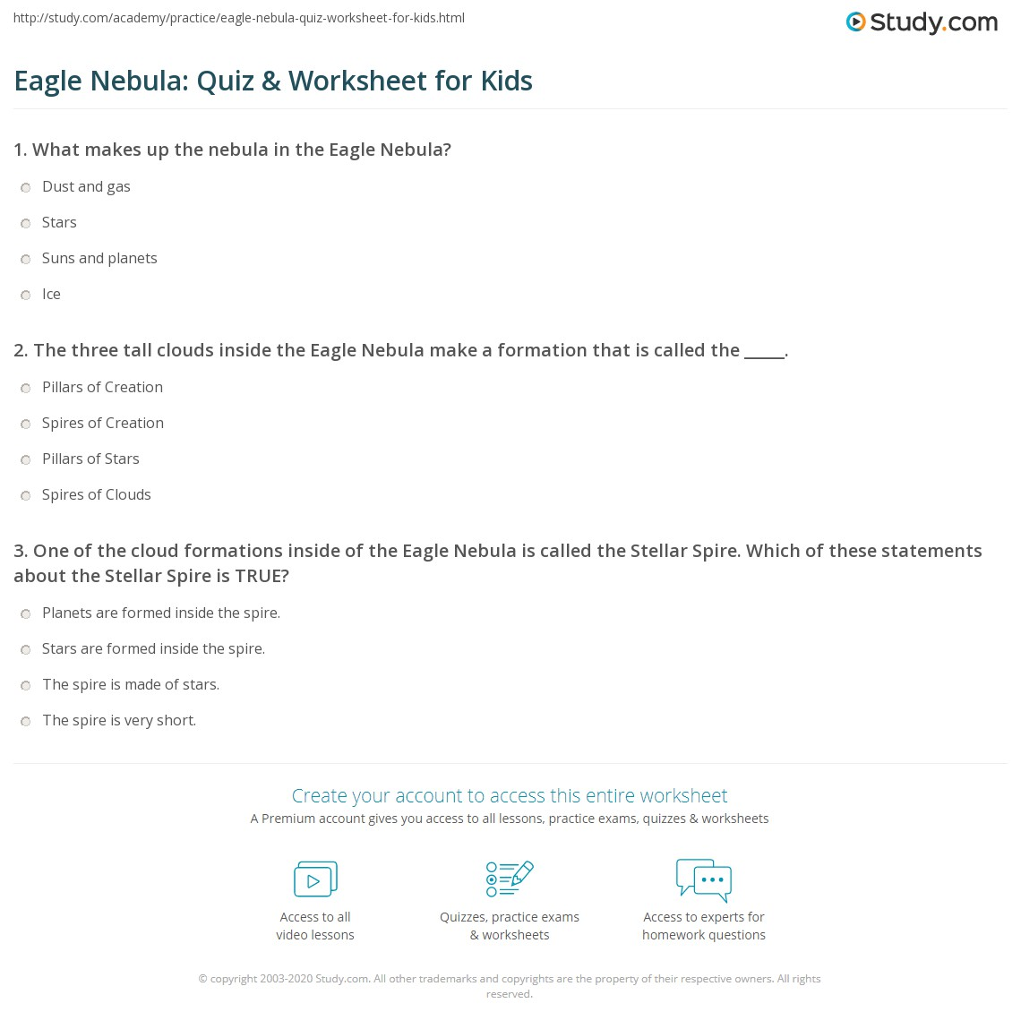 Eagle Nebula Quiz Amp Worksheet For Kids