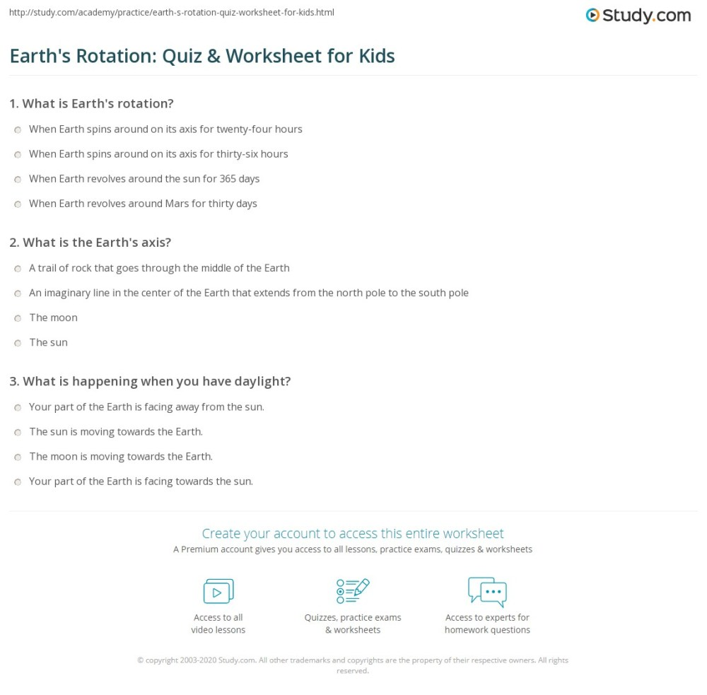 medium resolution of Earth's Rotation: Quiz \u0026 Worksheet for Kids   Study.com
