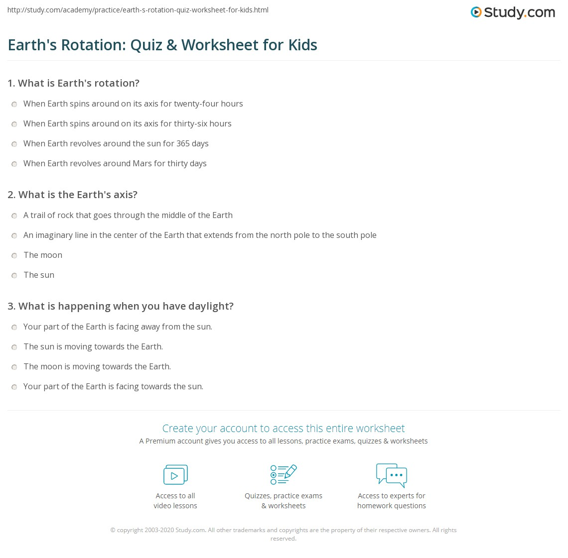 hight resolution of Earth's Rotation: Quiz \u0026 Worksheet for Kids   Study.com