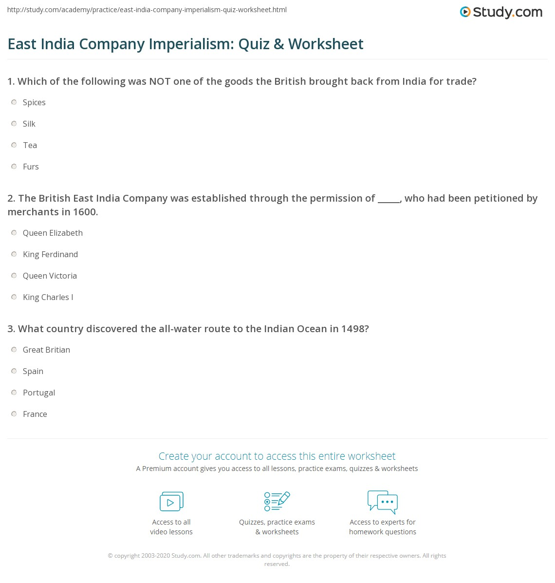 East India Company Imperialism Quiz Amp Worksheet
