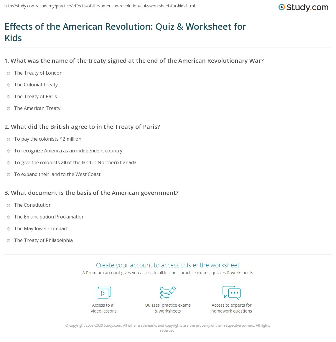 Effects Of The American Revolution Quiz Amp Worksheet For Kids