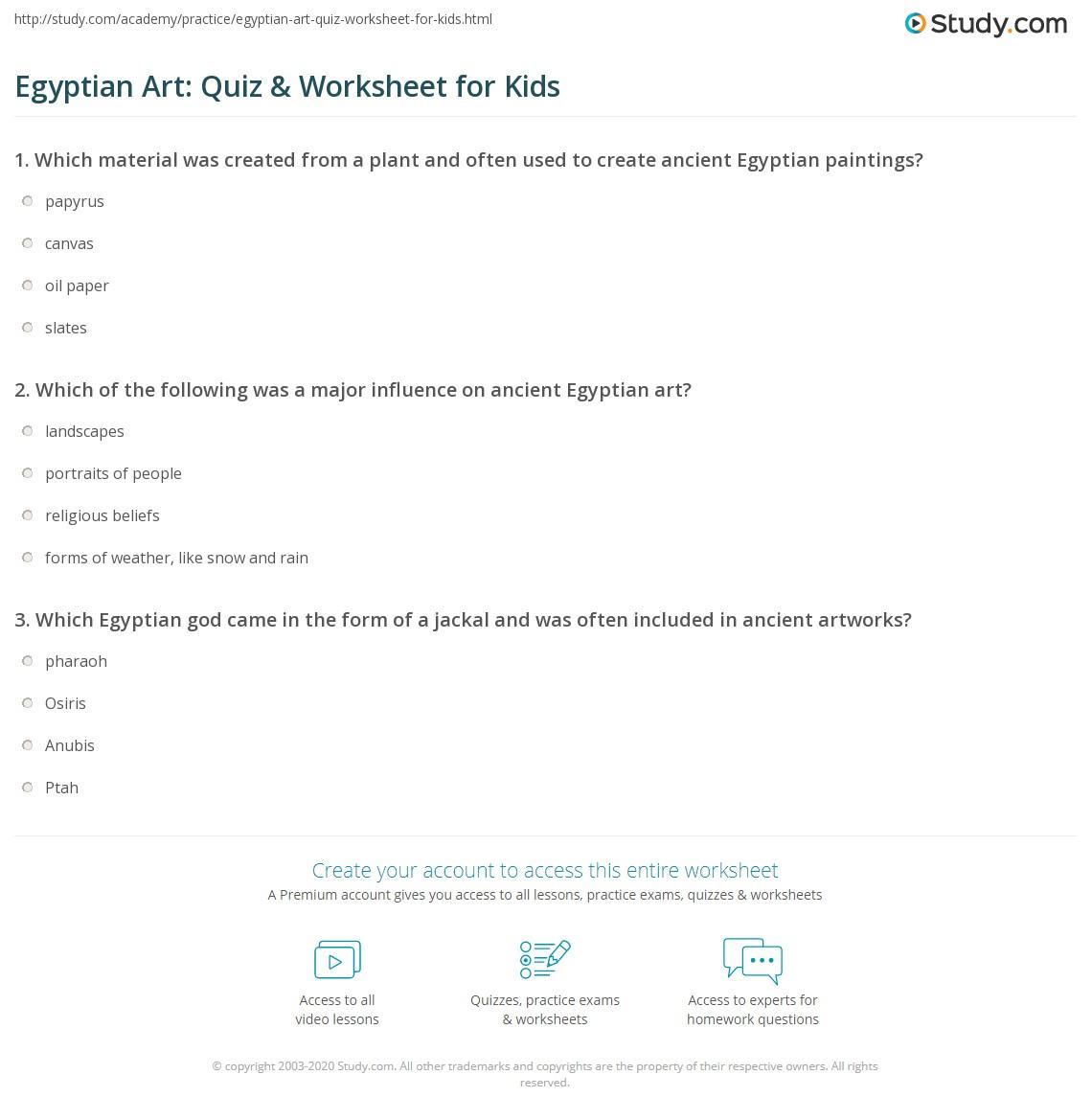 Egyptian Art Quiz Amp Worksheet For Kids