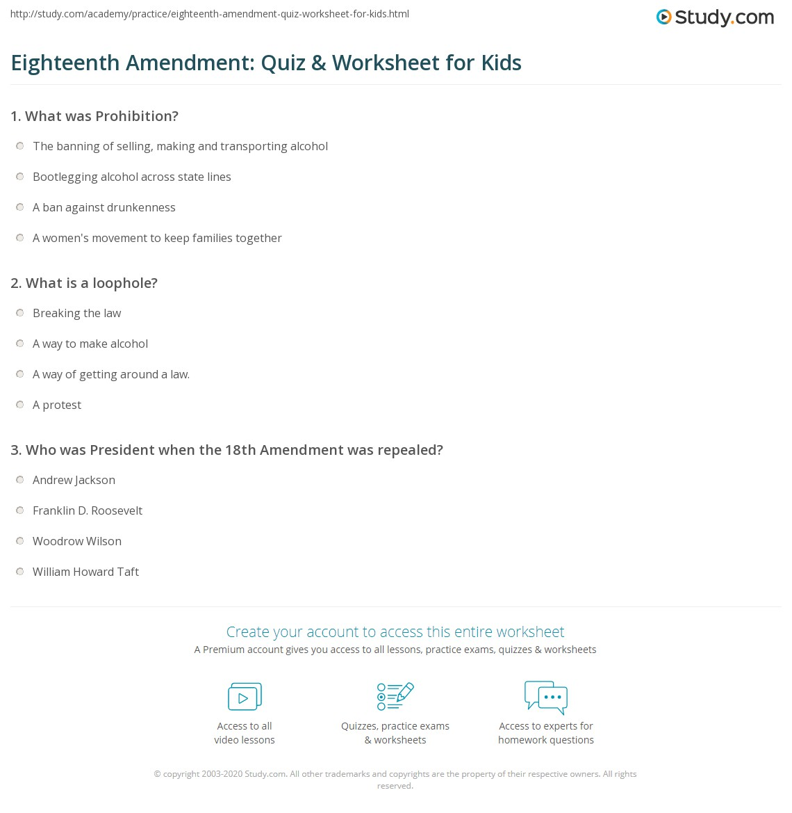 Eighteenth Amendment Quiz Amp Worksheet For Kids