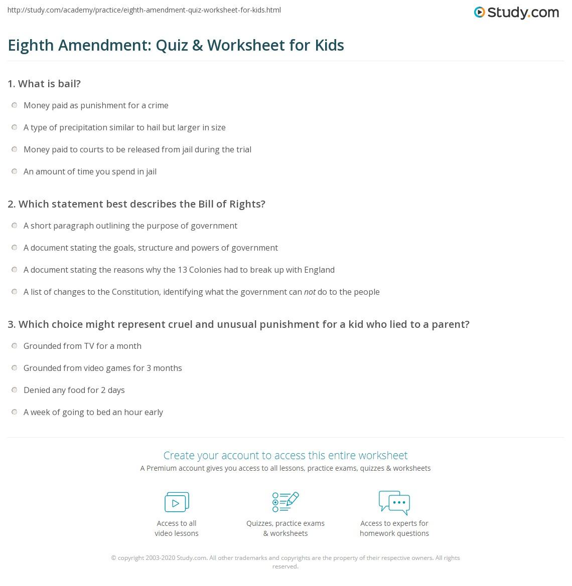 Eighth Amendment Quiz Amp Worksheet For Kids
