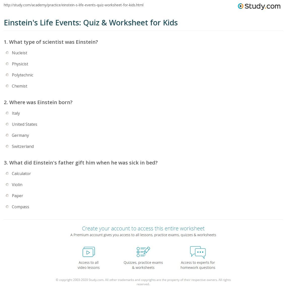 Facing Math Albert Einstein Worksheet
