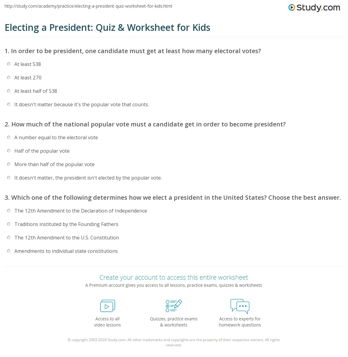 Electing A President Quiz Amp Worksheet For Kids