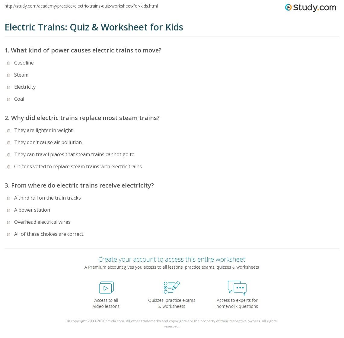Electric Trains Quiz Amp Worksheet For Kids